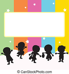 children silhouettes background - happy children with stars...