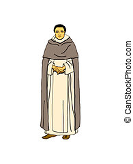 Dominican monk - Illustration of a Dominican monk on a white...