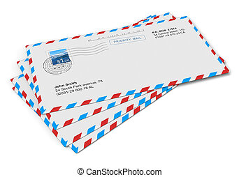 Paper mail letlers - Heap of paper mail letlers isolated on...