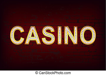 Glossy Casino - illustration of casino text with diamond on...