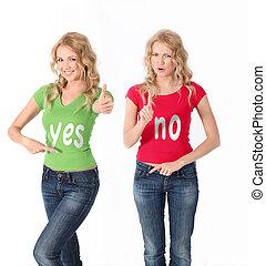 rubio, mujeres, coloreado, camisa, teniendo, contrario,...