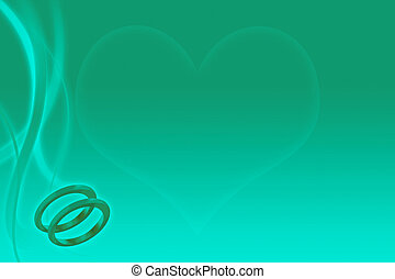 teal wedding background with wedding bands and heart -...