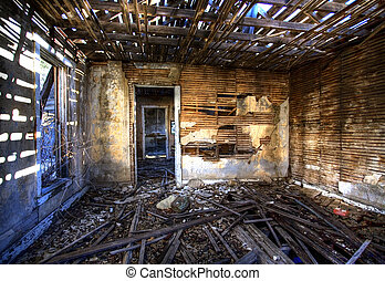 Wrecked house - House that has been abandoned in a New...