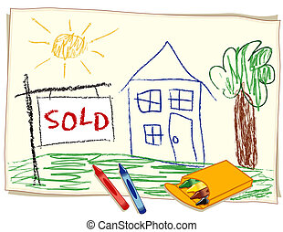 Sold Real Estate Sign, Crayon - Childs crayon drawing on...