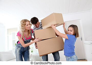 Family moving in new house