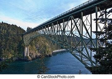 Acero, Puente, encima, traicionero, canal, agua, -,...