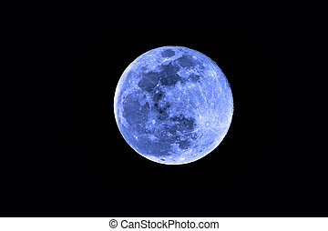 Full blue moon on black background - once in a blue moon...