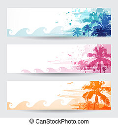 Tropical summer banners design with palm tree