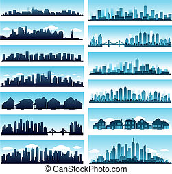 City skylines panoramic - blue city skyline panoramic...