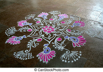 Floral Rangoli Design - Skillful rangoli handiwork design...