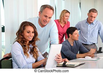 oficina, trabajadores, entrenamiento, curso