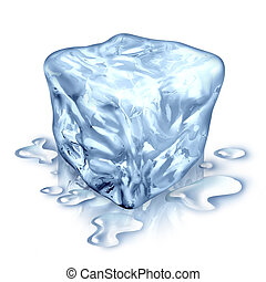 Ice Cube - Ice cube with melting water drops on a white...