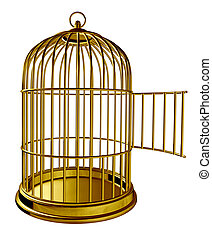 Open Bird Cage - Open bird cage as a golden brass metal...