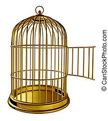 abierto, pájaro, jaula