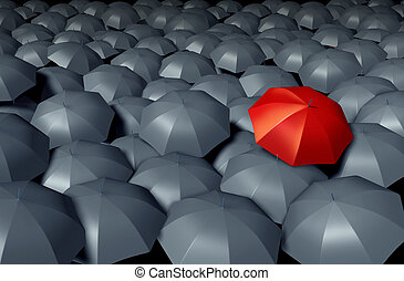 Standing Out From The Crowd with a red umbrella against a...