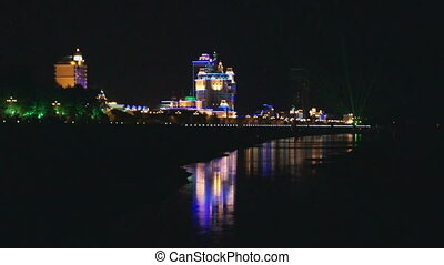 Heihe Embankment Street Night View - View of the waterfront...