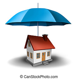 Property insurance and real estate safety with a house being...