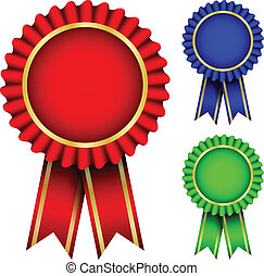 red, blue & green badgest - Vector illustration of red, blue...