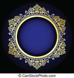 old ornate frame on blue - Vector illustration of gold...