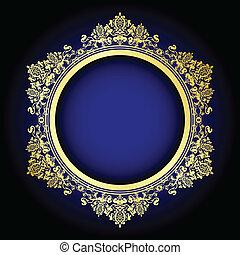 old ornate frame on blue - Vector illustration of gold...