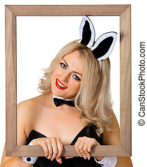 Beautiful girl - a rabbit in the frame - Portrait of a...