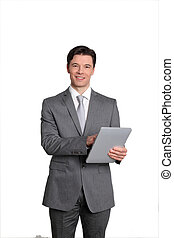 Businessman standing on white background with touchpad
