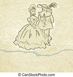 Musketeer and lady vintage card. EPS 8 - Musketeer and lady...