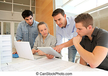 Educador, estudiantes, arquitectura, trabajando,...
