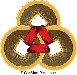 Feng shui 3 coins with red ribbon