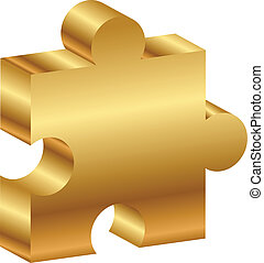 Vector illustration of puzzle - 3d