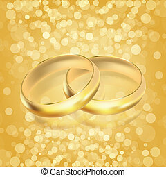 Vector illustration of rings - golden background
