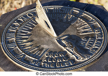 Sun Dial In Direct Sunlight Showing Time - Tight Shot of...