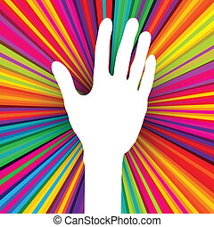 Hand silhouette on psychedelic colored abstract background....