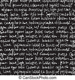 Abstract expressive handwriting on black background. Seamless pattern, vector, EPS10.