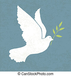 Dove with olive branch Vector illustration, EPS 10