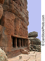 Rock-cut Temple - Cave II cut in monolithic rock, Badami,...