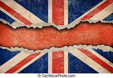 Grunge British flag on ripped paper