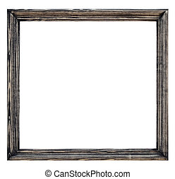 Vintage picture frame, wood plated, white background,