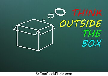 "Concept of ""Think Outside the box"" drawn with chalk on a blackboard"