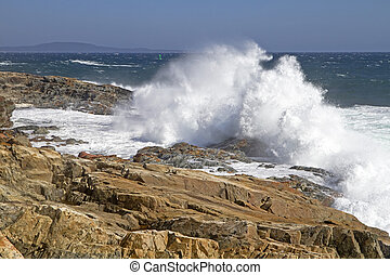Power - Waves Crashing at Otter Cliffs, Acadia National...