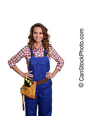 Woman carpenter standing on white background