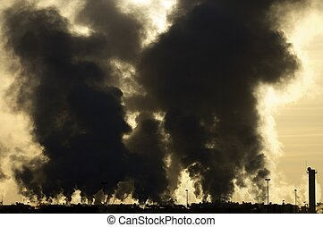 contamination - view of the smoke produced by a polluting...