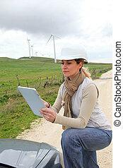 tableta, turbinas, campo, Utilizar, electrónico, viento,...
