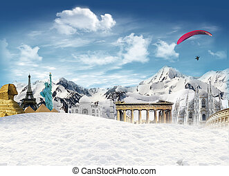 World landmarks among the mountain with snow and man flying in the sky