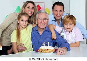 Family, celebrating, grandfather's, birthday