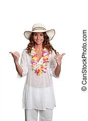 Happy woman wearing Hawaiian outfit