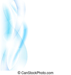 Blue Waves With Blur, Isolated On White Background, Vector...
