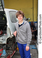 Portrait of teenager in mechanics apprenticeship