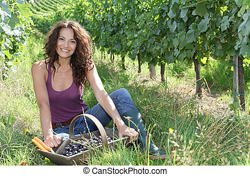 Woman harvester in vineyard
