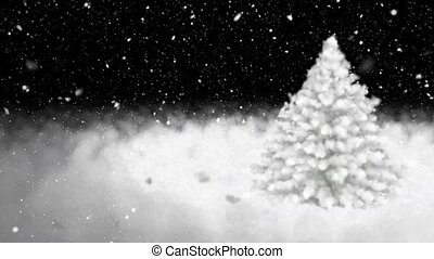New Year tree, snowflakes - New Years snow-covered fur-tree...